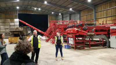 Farm Manager Andrew Francis and Farms Technical Manager Emma Kelcher introducing the grading facility.